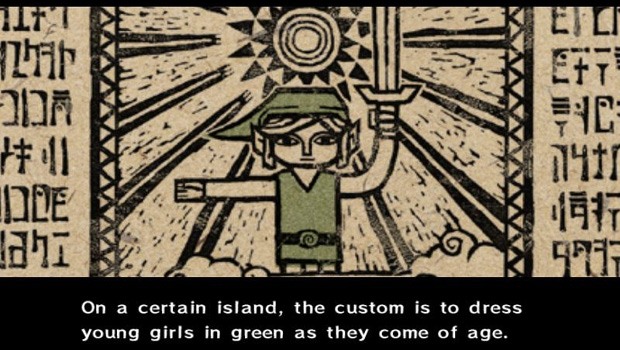 Dad alters text in Wind Waker to turn Link into a girl screenshot