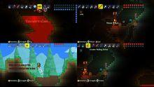 Terraria screenshots show 4-player splitscreen action photo