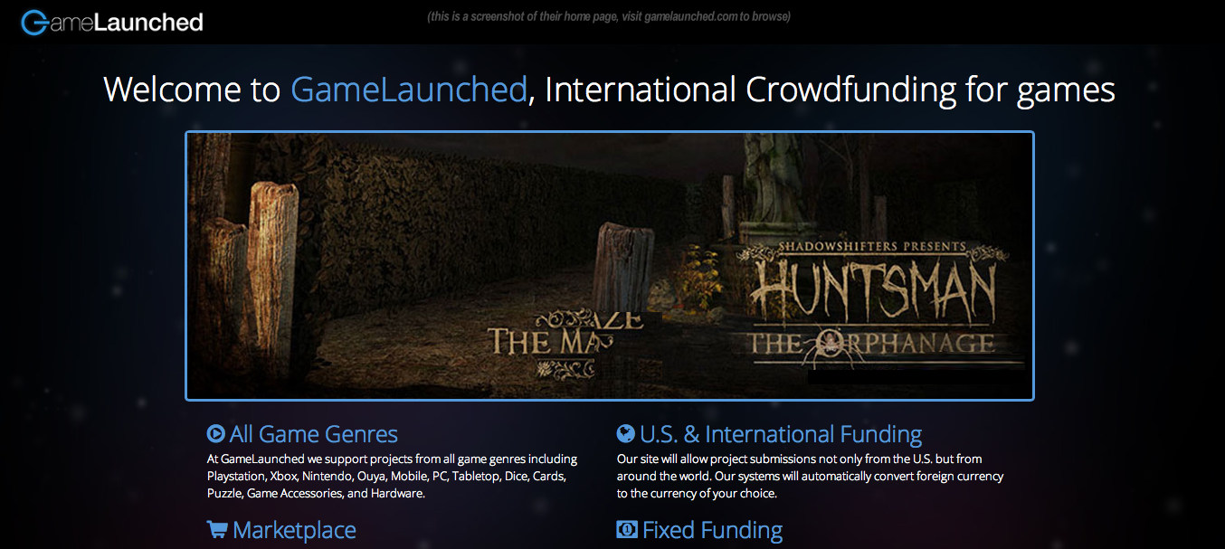 GameLaunched.com is live, crowdfunding games worldwide screenshot