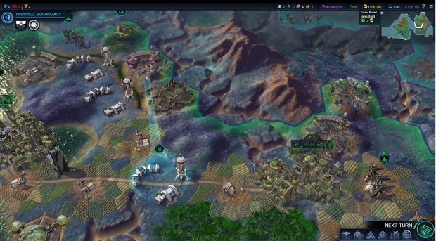 AI construct 'Master Control' walks through a turn of Civilization: Beyond Earth in this PAX video screenshot