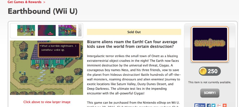 First Ness, now his game? EarthBound 'sold out' on Club