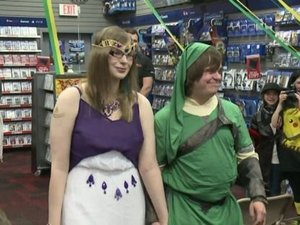 Zelda-themed wedding held inside a GameStop photo