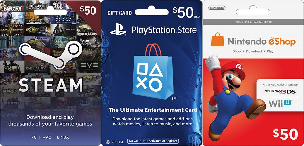 $100 Steam Wallet, PSN, Nintendo eShop gift cards on sale for $85