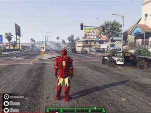 Wreck up not-LA with the Grand Theft Auto V Iron Man mod photo