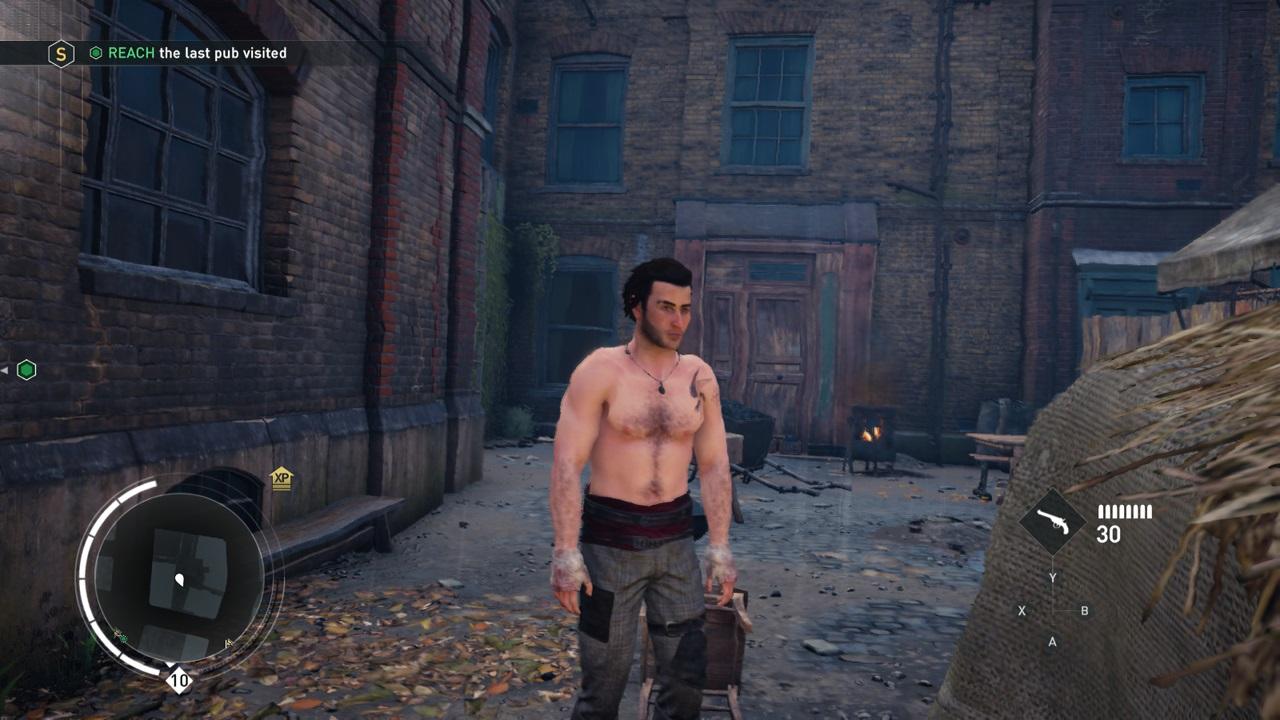 A hungover, shirtless Assassin screenshot
