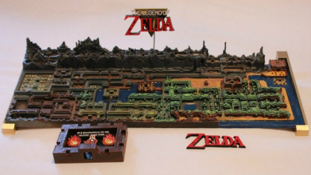 This custom 3D print of The Legend of Zelda's map is amazing