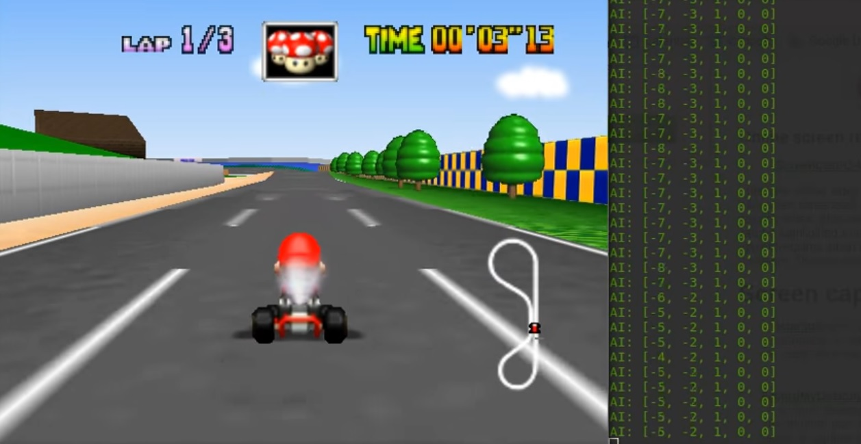 Madman creates his own AI, trains it how to play Mario Kart screenshot