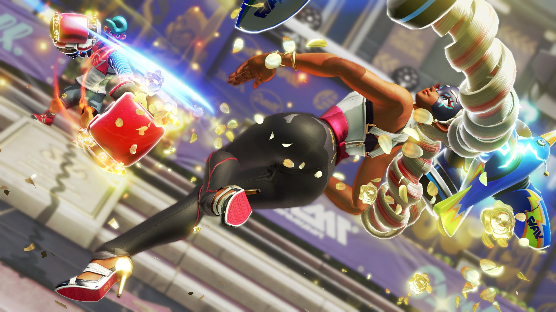The Global Testpunch trial for Arms includes Hoops mode and local multiplayer screenshot