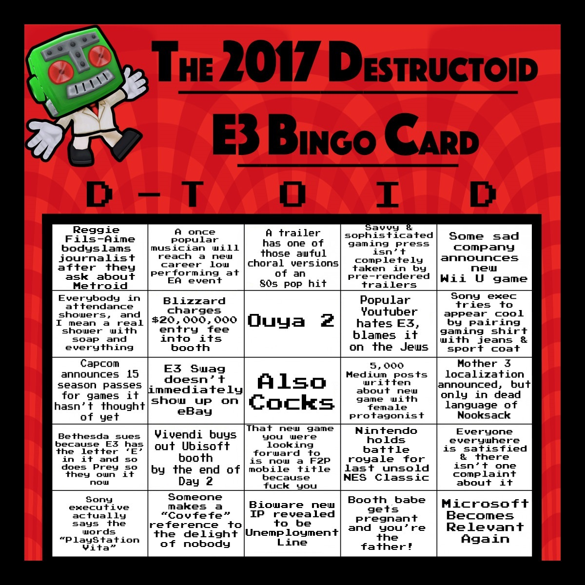 download your e3 2017 bingo card today