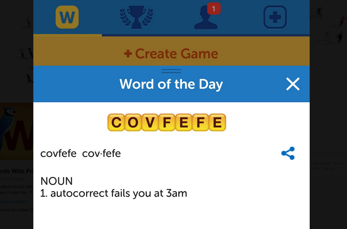 Trump boner 'covfefe' makes it into Words With Friends screenshot