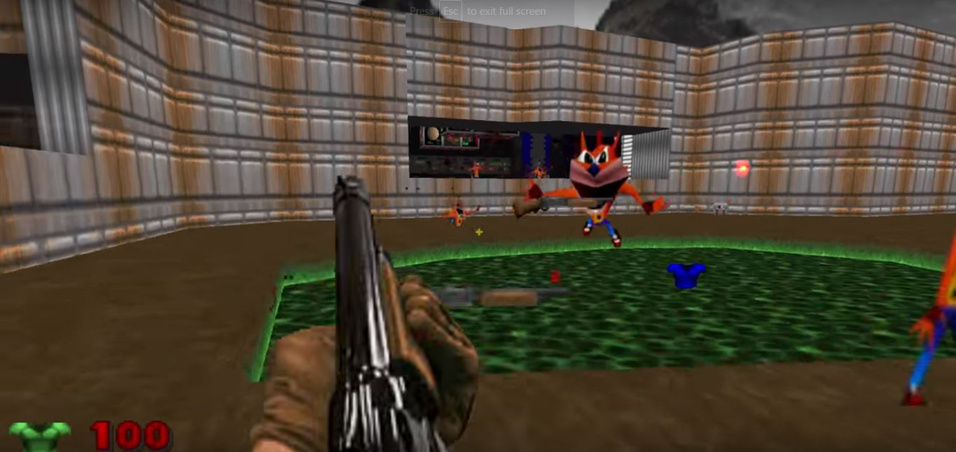 Replace every demon in Doom with shrieking Crash Bandicoot with this mod screenshot