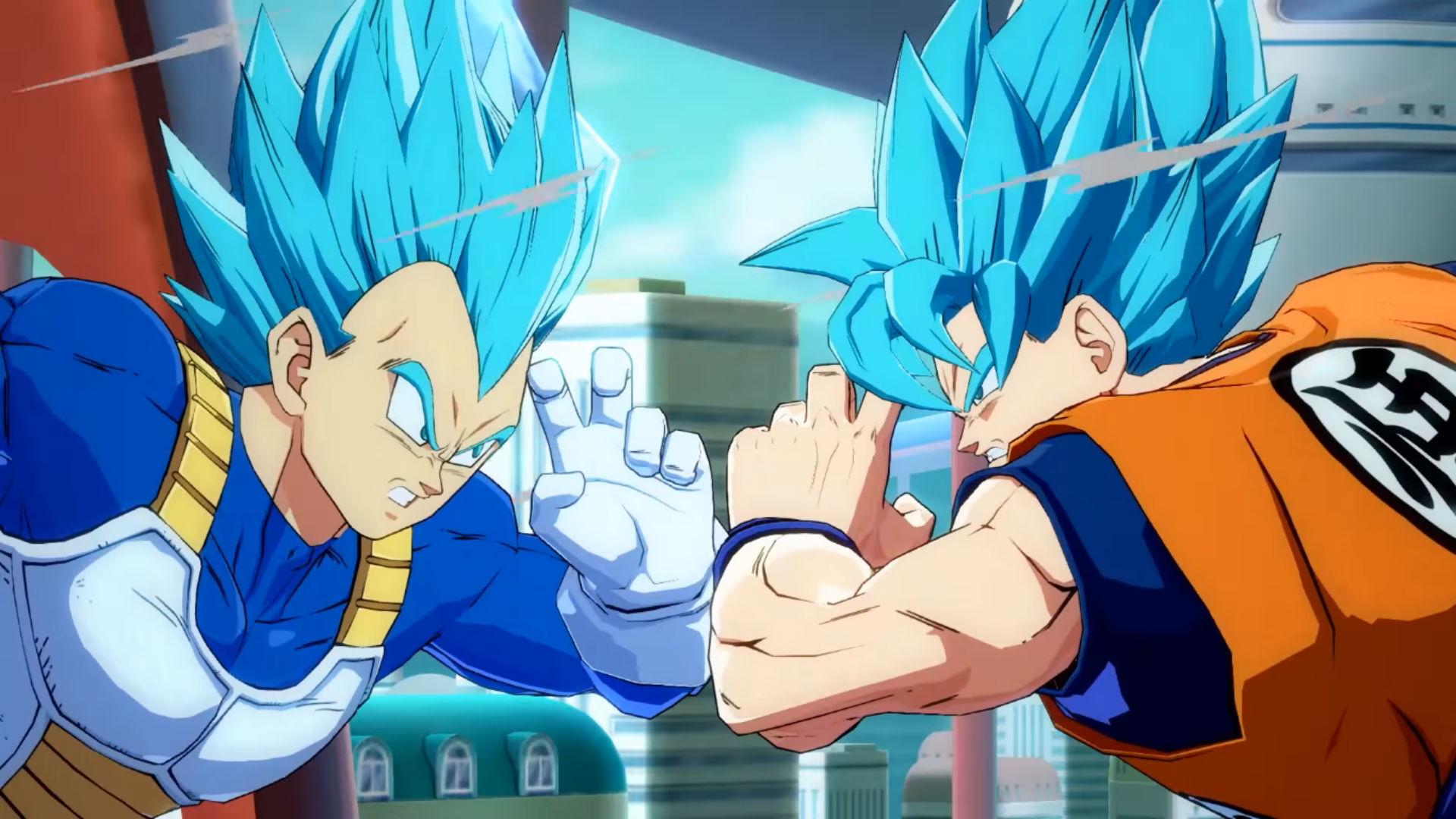 Watch Super Saiyan Blue Goku and Vegeta tear it up in Dragon Ball FighterZ screenshot