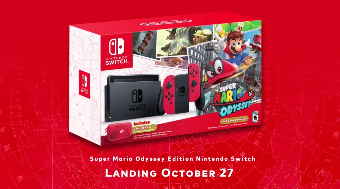 There's a Super Mario Odyssey Switch bundle that comes with two red Joy-Con screenshot