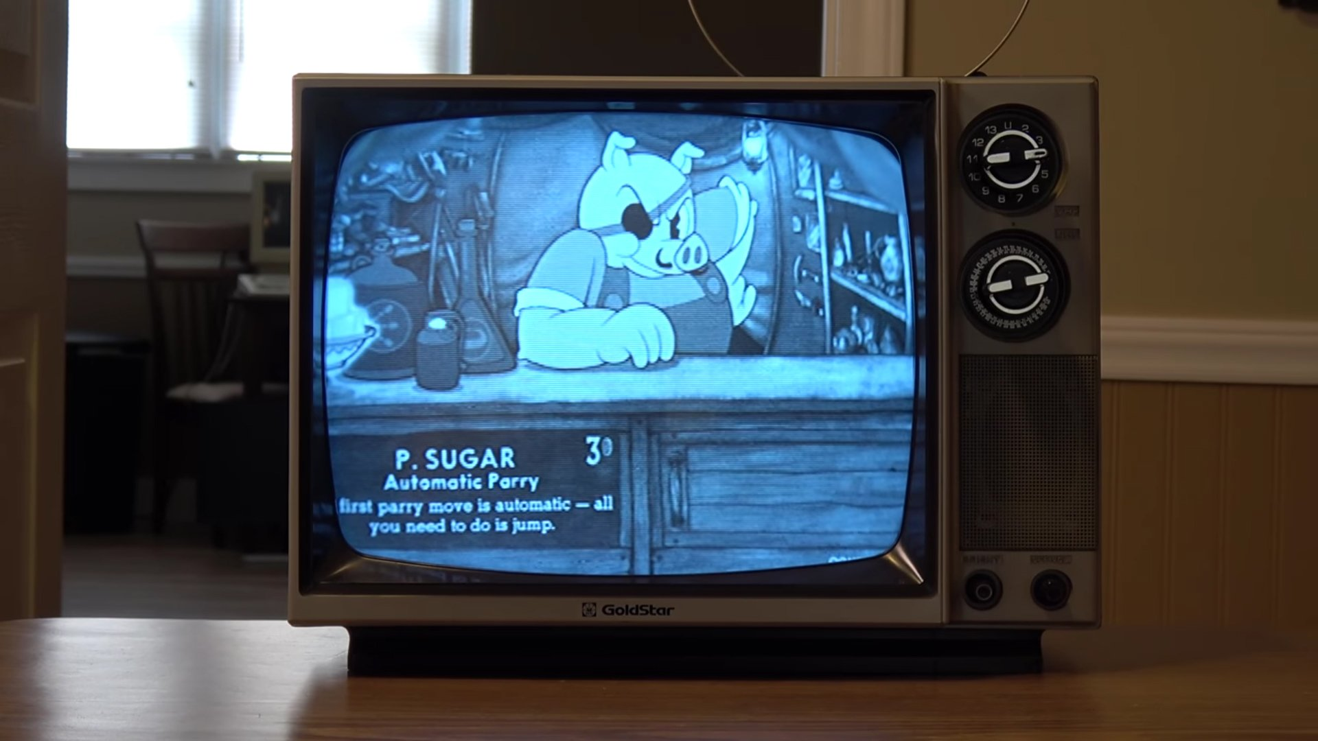 Cuphead looks right at home on this old television screenshot