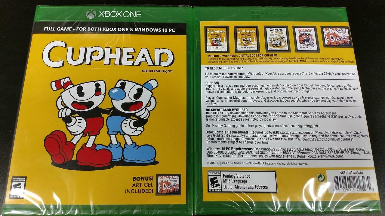 Cuphead's physical edition opts for a game code rather than a disc screenshot