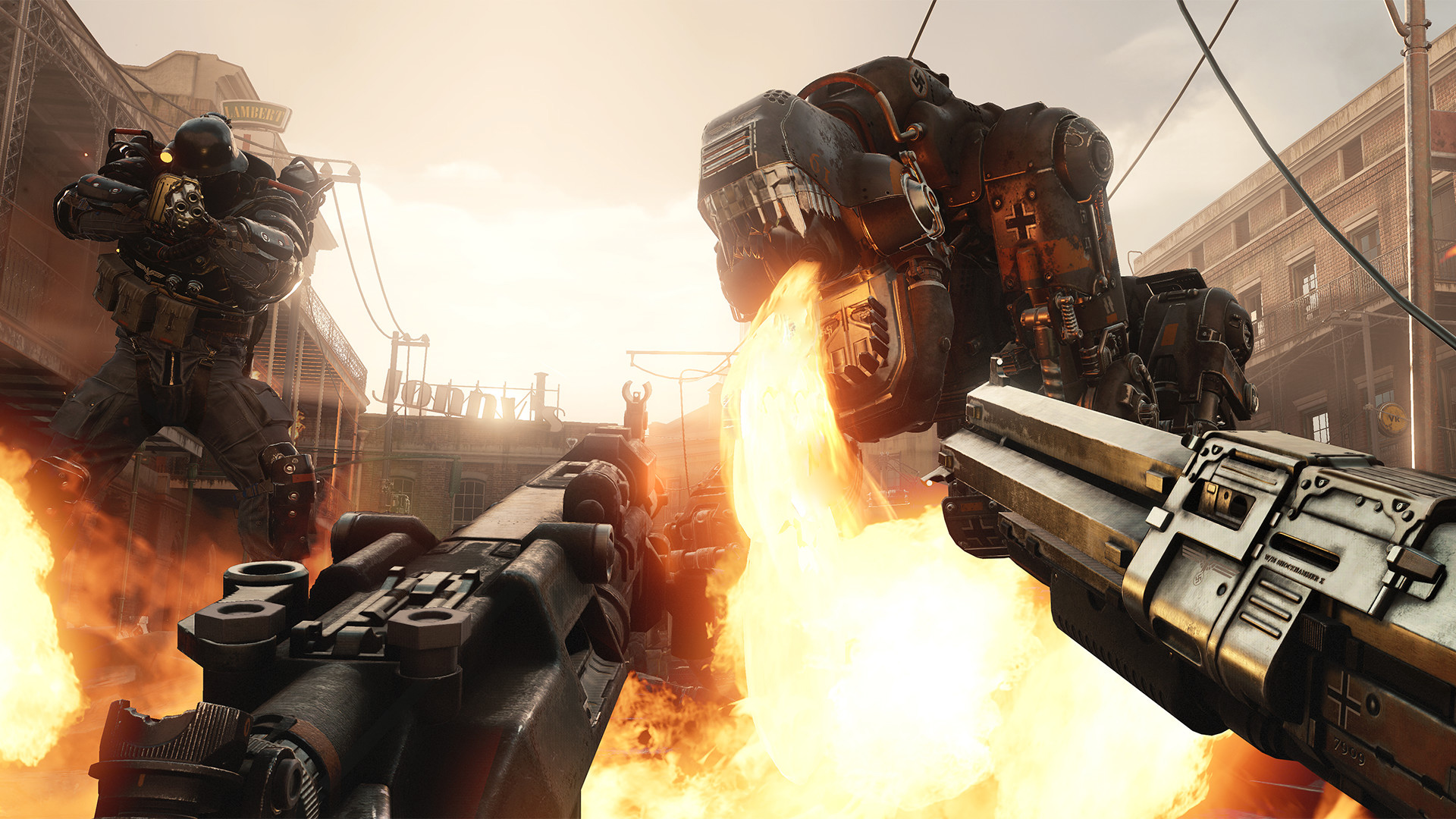 The Wolfenstein II demo includes the full first level screenshot