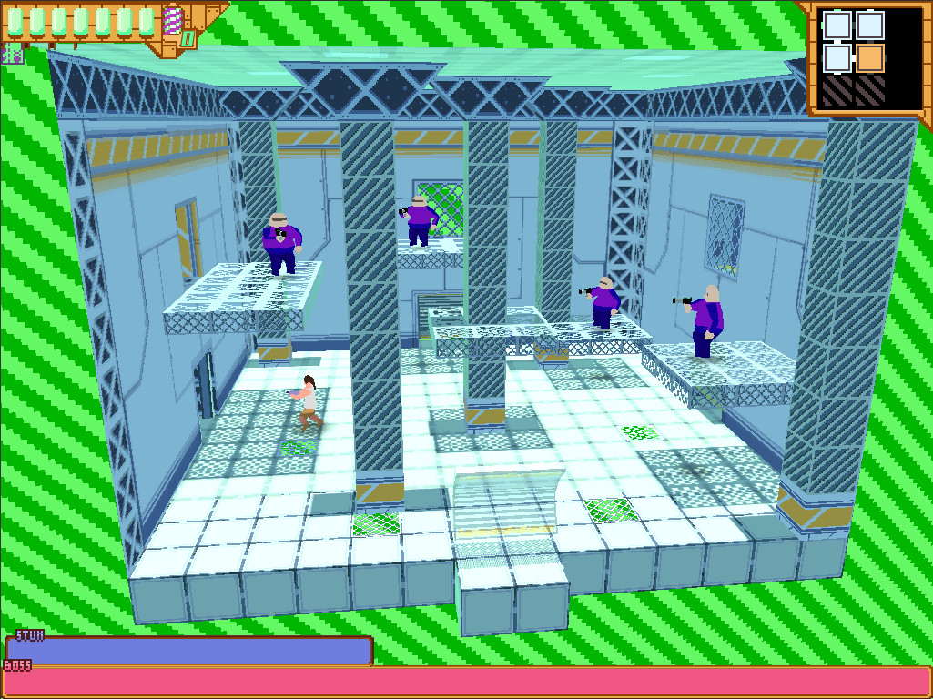 Bosses roam from room to room in this twin-stick shooter screenshot