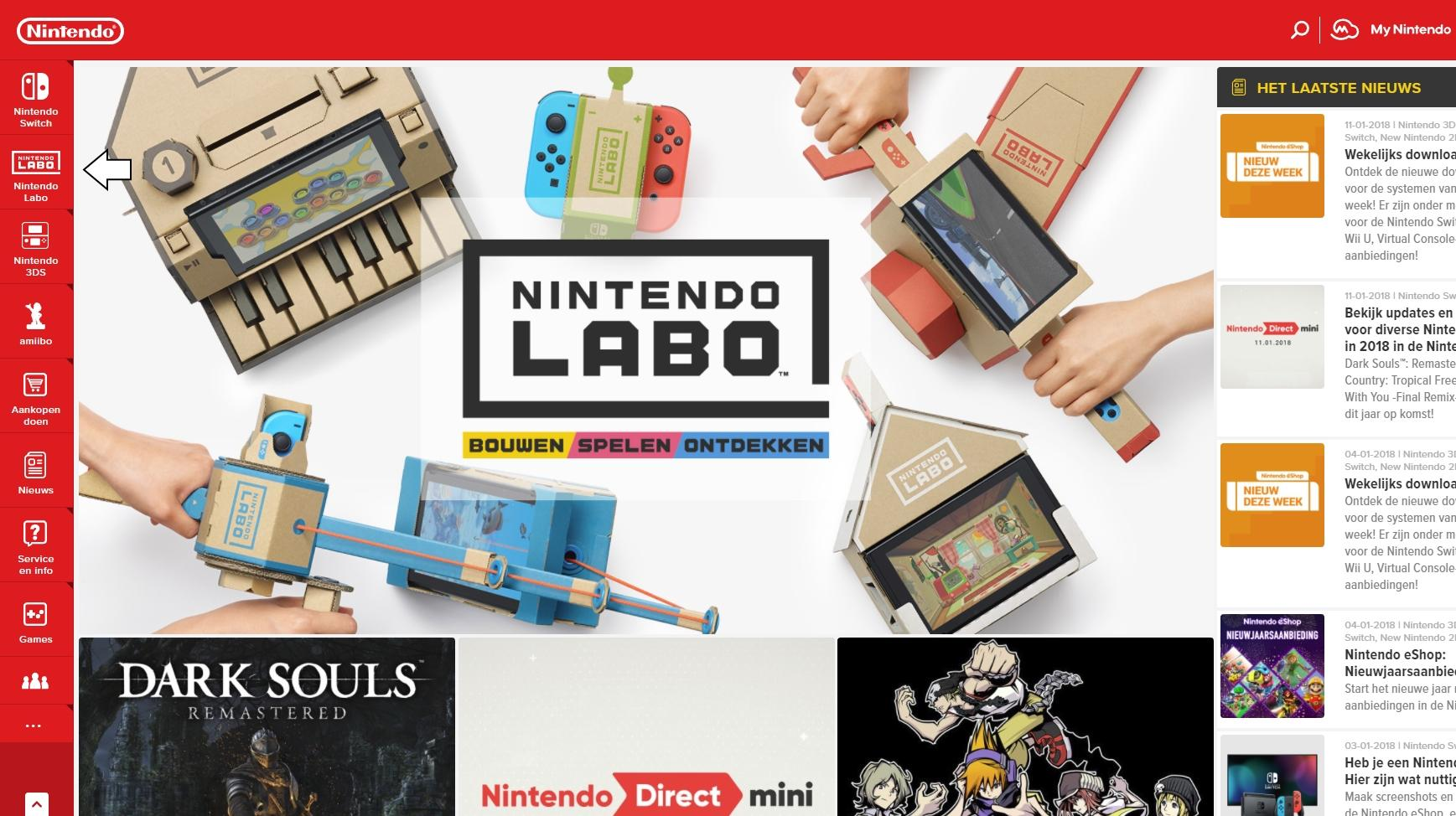 Pour another one out for the Wii U, the Nintendo UK site removed it to make room for Nintendo Labo screenshot