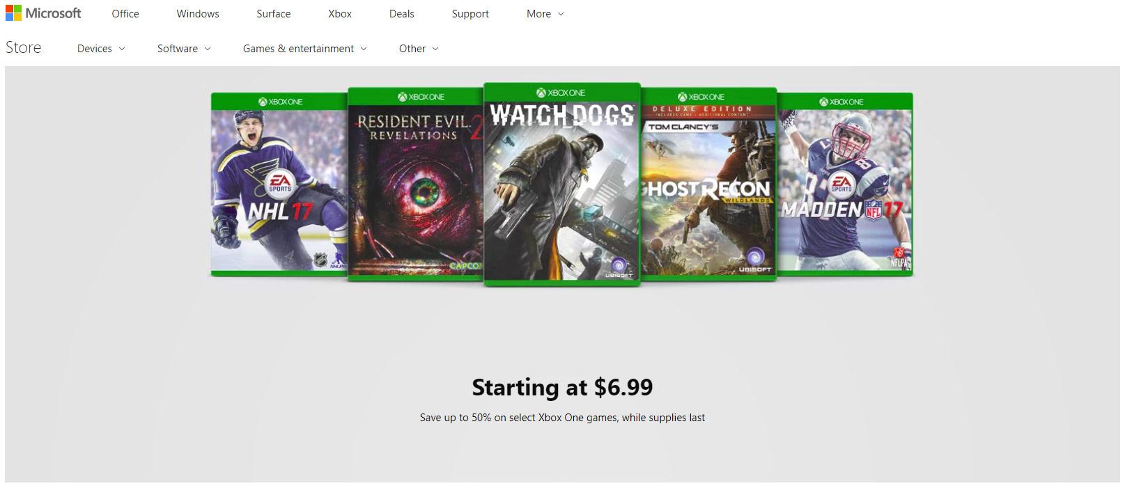 Microsoft Store's Xbox One game clearance sale starts at $4.99 screenshot