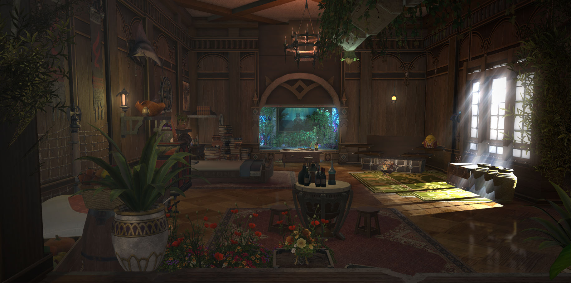 A Final Fantasy XIV player re-created the private quarters from Monster Hunter World screenshot