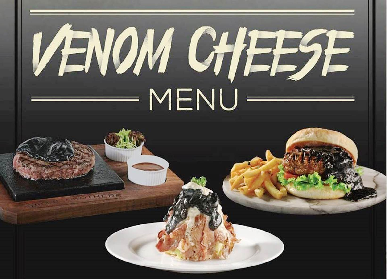 A restaurant in Jakarta, Indonesia is selling a Venom-inspired pitch-black cheese screenshot