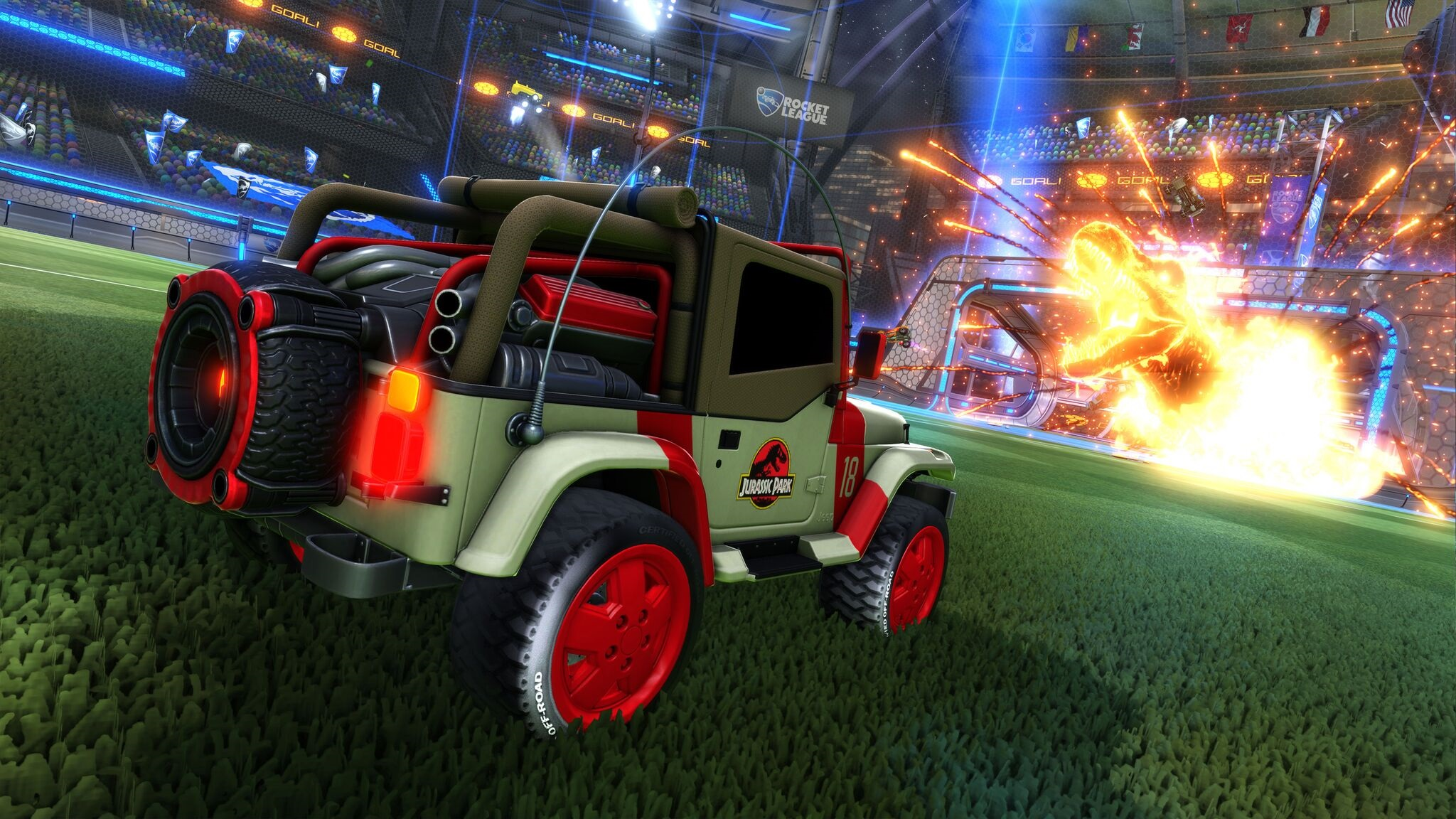 The Jurassic Park Jeep is coming to Rocket League screenshot