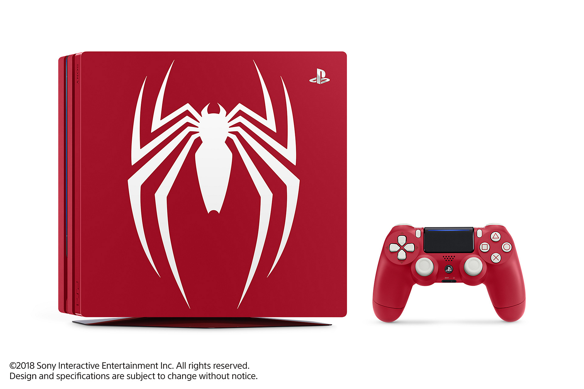 The Spider-Man PS4 Pro bundle splashes the white logo across a red console