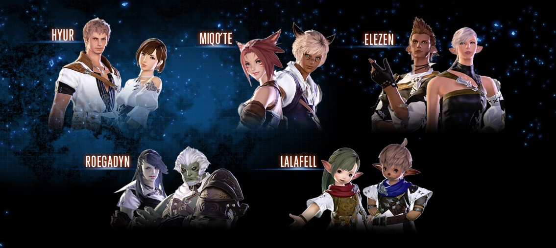 Final Fantasy XIV's playable races, not including Heavensward's Au'Ra