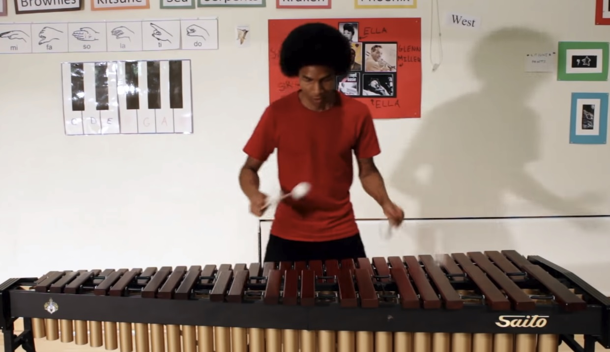 The Super Mario Bros. theme on the marimba is pure fire