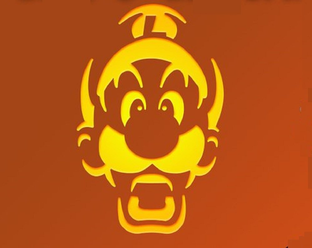 Luigi Jack O Lantern Template For Pumpkin Carving Nintendo