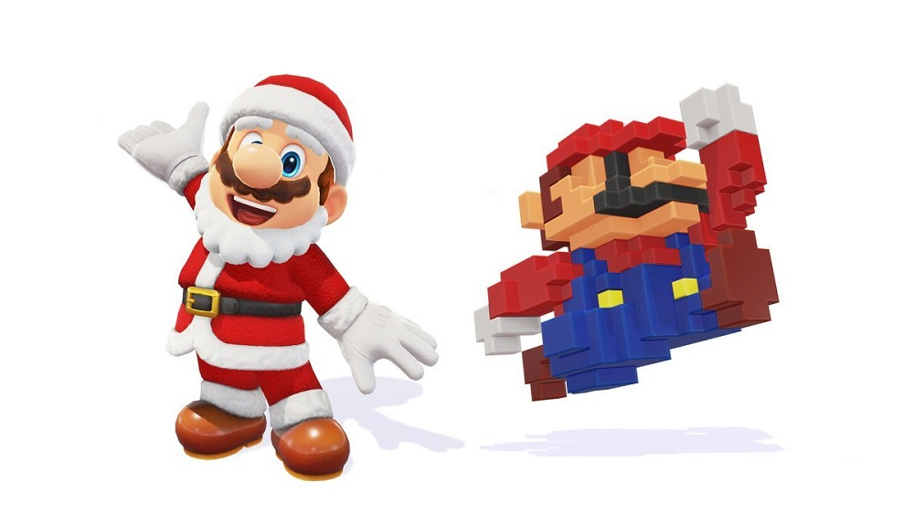 Super Mario Odyssey adds 8-bit Mario and Santa Mario costumes screenshot