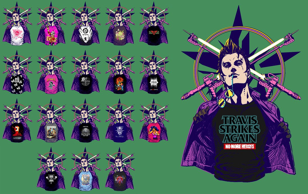 These are all the indie game t-shirts in Travis Strikes Again: No More Heroes screenshot