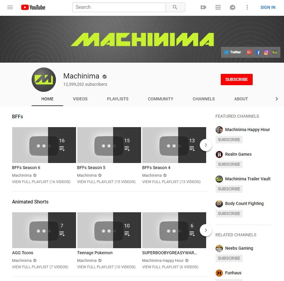 All of Machinima's videos were removed without any prior warning