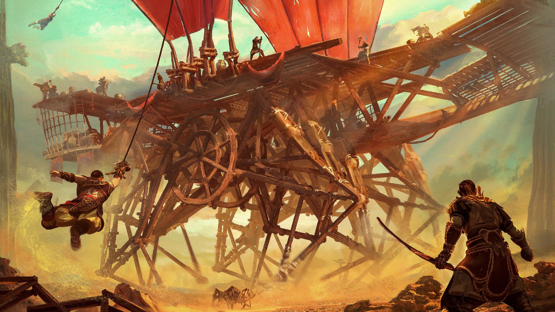 Nomadic survival game Last Oasis revolves around wooden mechs screenshot