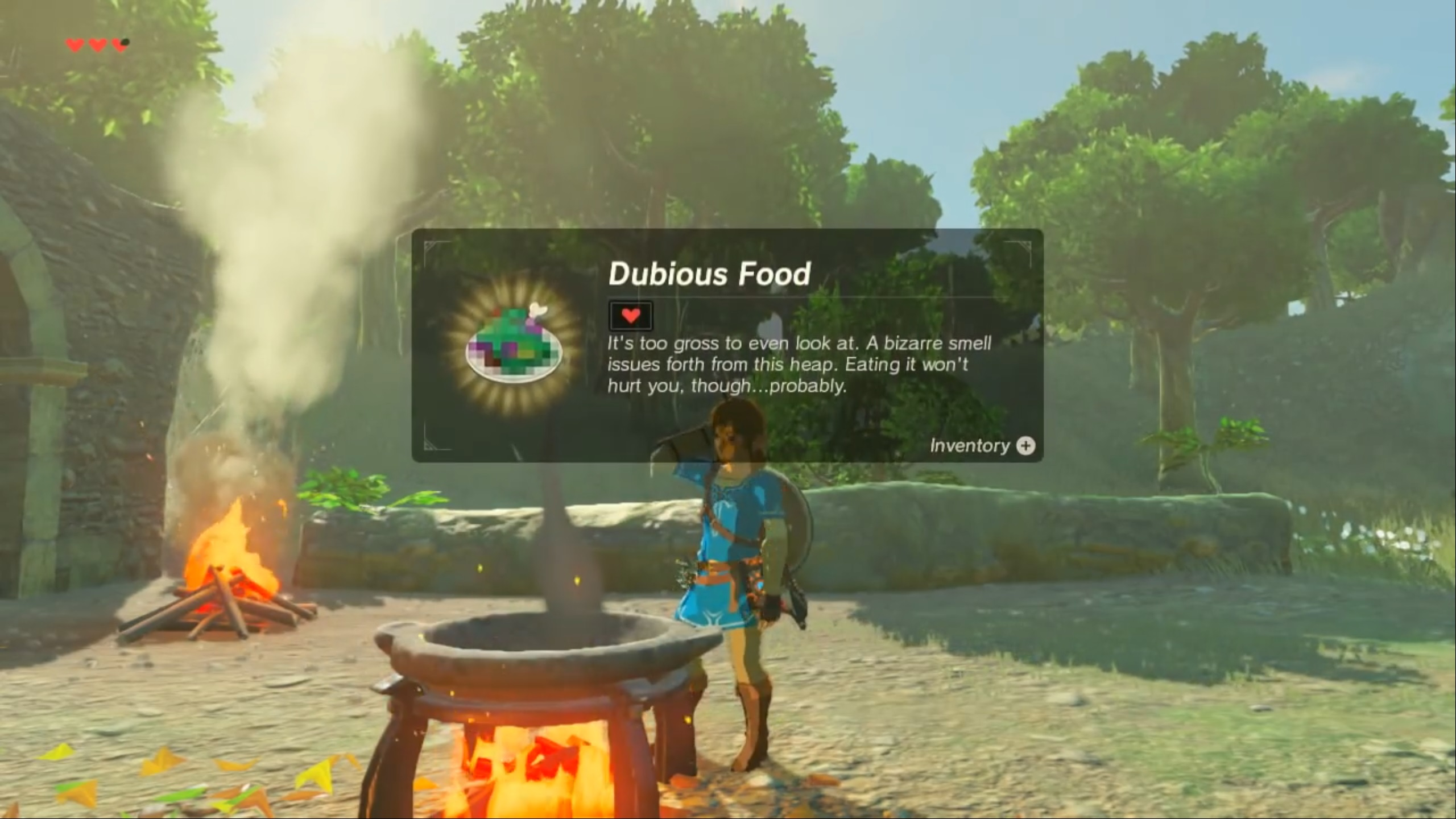 Getting dubious food in Breath of the Wild