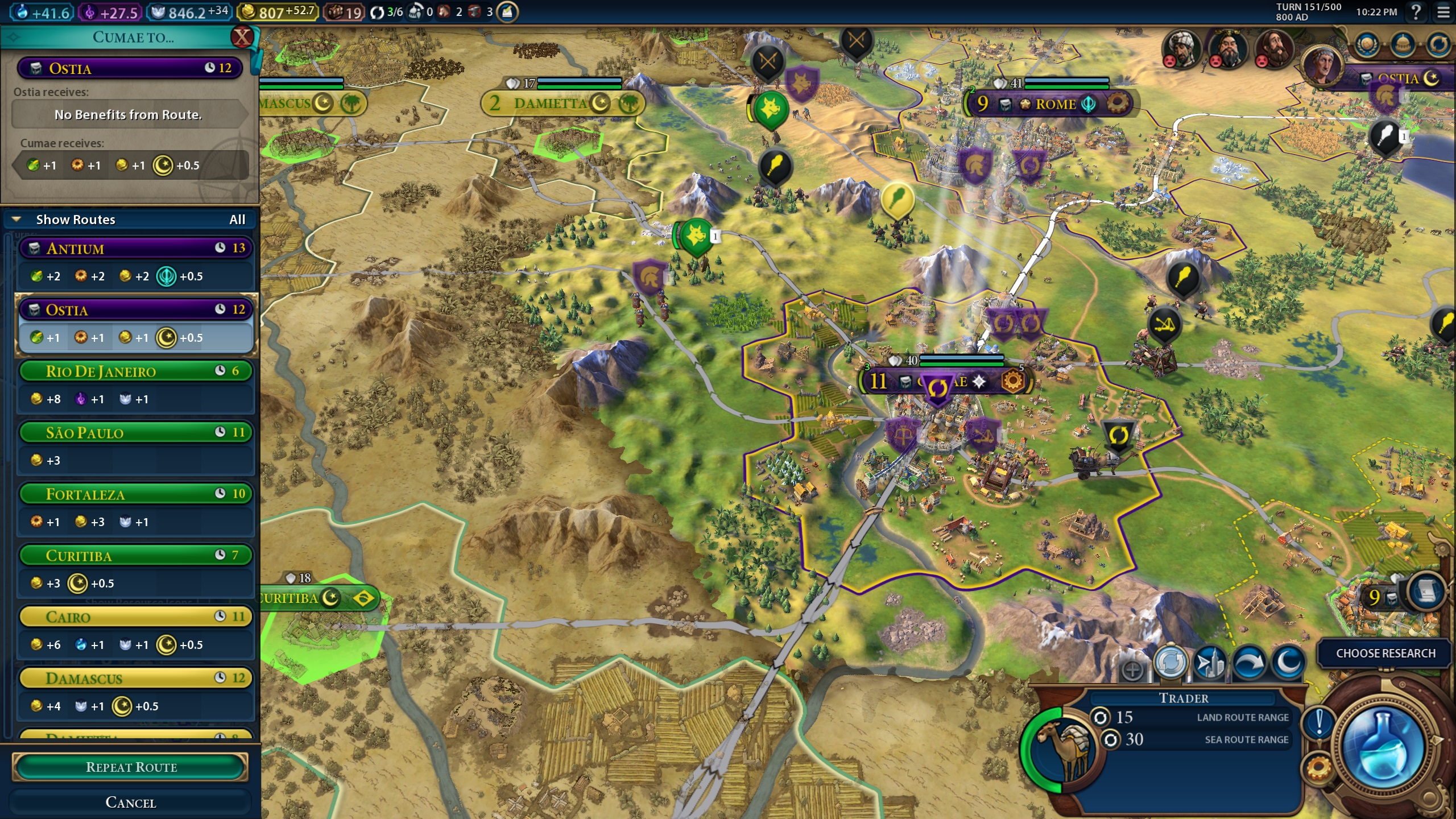 Example of trade routes in civ 6