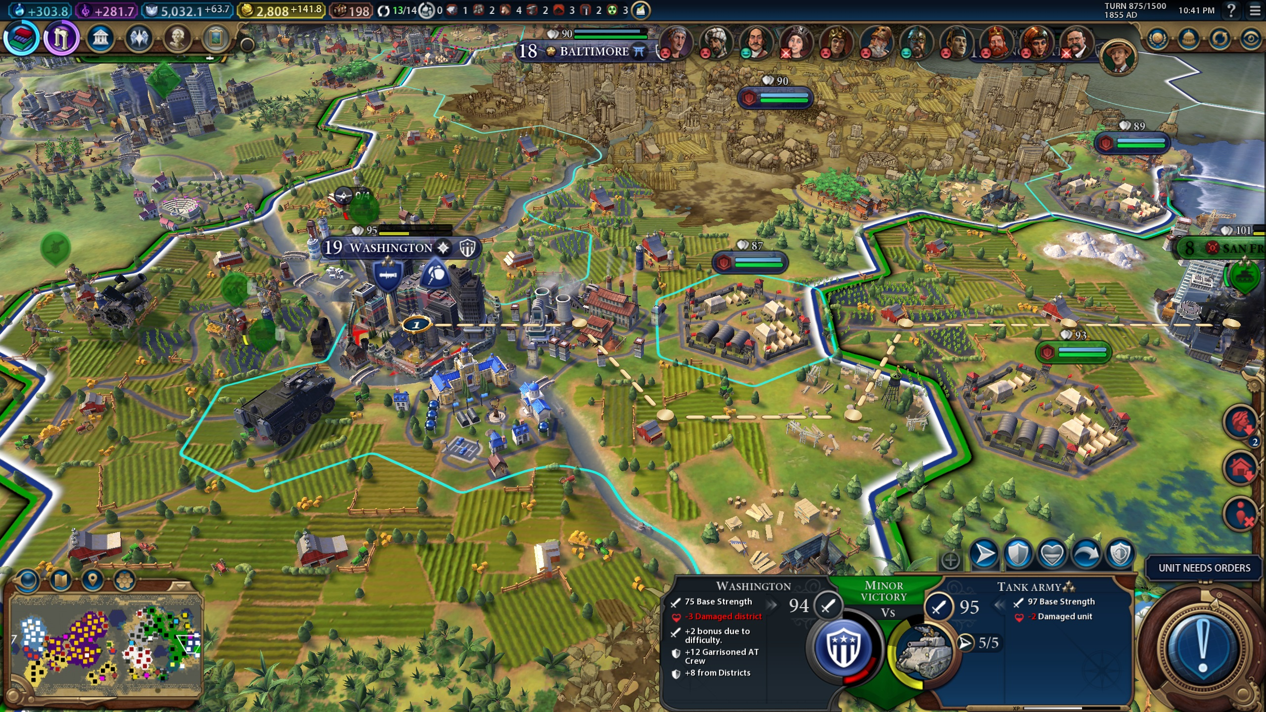 Example of military movement in Civ 6