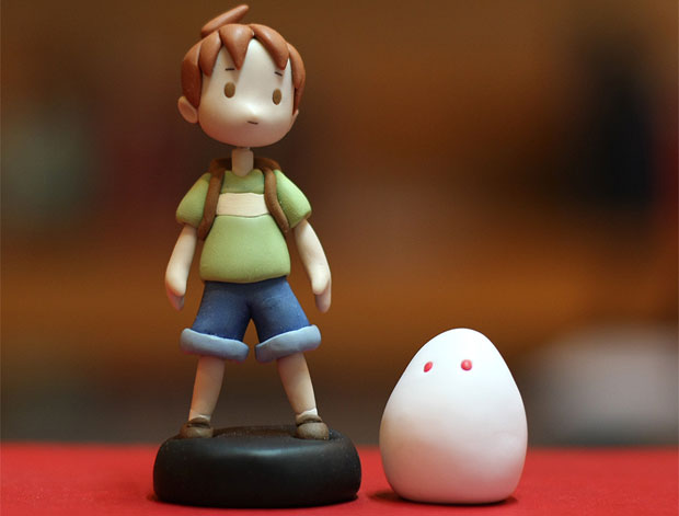 custom sculpey boy and his blob figure is not edible