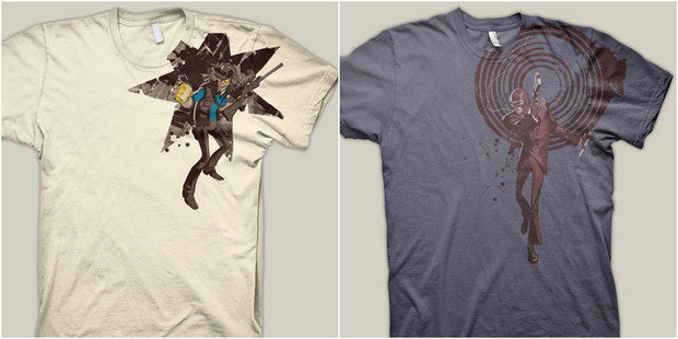 ca6aa9bd The Valve store got two new shirts last week. One is of the Sniper with his  jar of pee and the other is of the Spy being the badass that he is.