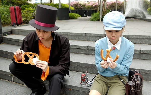 Professor Layton traveling America, giving free stuff photo
