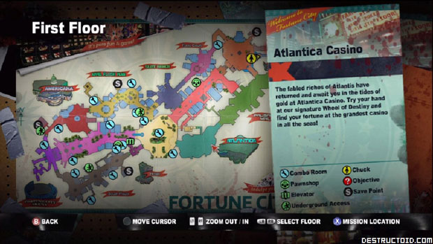 A look at the map of Dead Rising 2's zombie-killing playground ... Dead Rising Map on