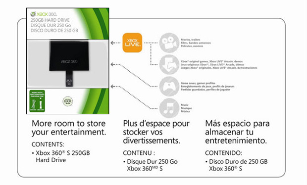 250GB Xbox 360 Slim hard drive now available on