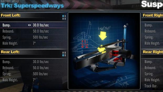 Car setups in NASCAR 2011 full of options