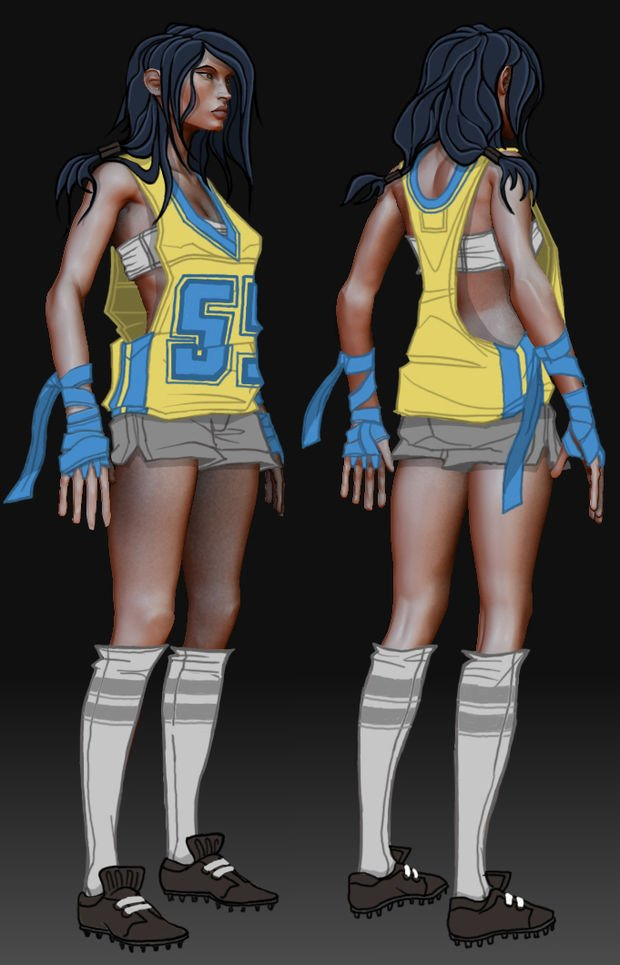 "Concept art of ""Emilia"" from Harmonix's Dance Central"