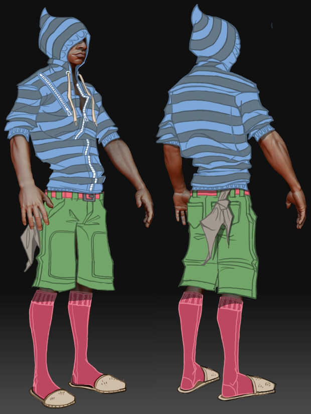 "Concept art of ""Mo"" from Harmonix's Dance Central"