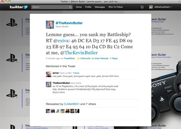LAWL: Kevin Butler retweets PS3 Jailbreak code screenshot