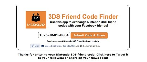Modojo's Facebook 3DS Friend Code Finder is a handy thing