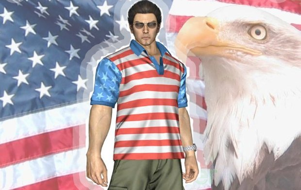 Kazuma Kiryu gets all patriotic in Yakuza of the End screenshot