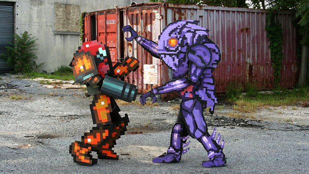 The most pixel-y Metroid cosplay ever screenshot