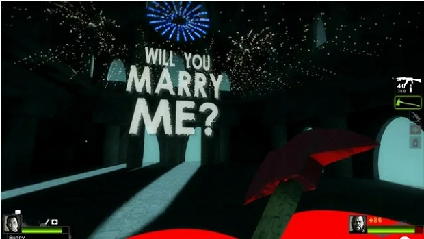 Man proposes to girlfriend in Left 4 Dead 2 custom map screenshot